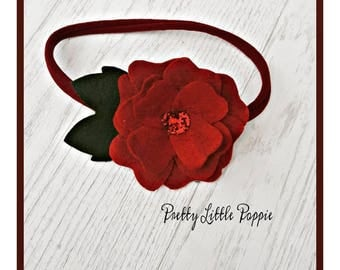 Dark red felt flower headband