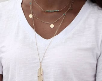 Multi Strand Layered Feather Necklace
