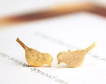 Tiny Bird Stud Earrings