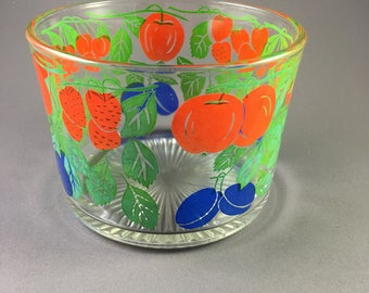Mid Century Glass Trifle Bowl with Cherries, Strawberries, Plums and Apples