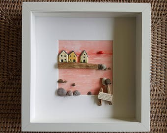 A pebble sea scene made with pebbles,driftwood and painted clay cottages - A lovely quote makes this a lovely unique gift to give