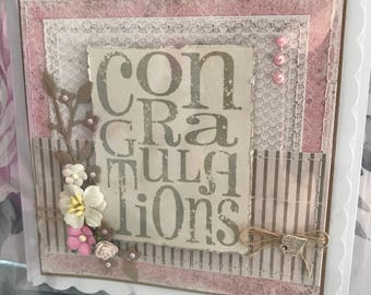 Handmade handstitched congratulations card