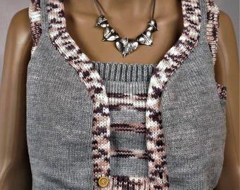 Women's Cardigan, vest and Top, vest in wool, grey vest, vest, spring, sexy Vest Top in wool, sexy Top, women Top