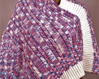 Poncho woolen child poncho, knit poncho, pink poncho, handmade poncho winter poncho, poncho