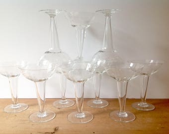 Vintage Hollow Stem Coupes Bamboo Pattern Sasaki Set of 10 Excellent