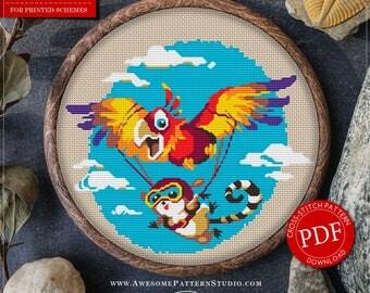 Modern Cross Stitch Pattern Parachutist for Instant Download *P050 |Embroidery File|Needlecraft Pattern| Baby Room Decor| Cross Stitch Chart