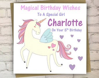 Personalised Unicorn Birthday Card, Card For Child, Children's Card, Greeting Card, Free UK Shipping