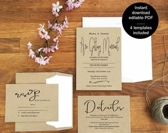 Printable Wedding Invitation Set,monochrome wedding instant download,rustic wedding invitations, wedding stationery, digital invitations,
