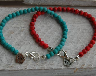 Bracelet of turquoise beads, december birthstone