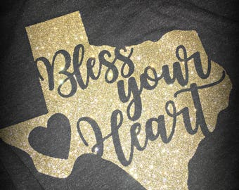 "Texas ""Bless your Heart"" tri-blend racerback tank"