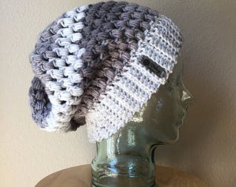 Puff Stitch Slouch in grey ombré