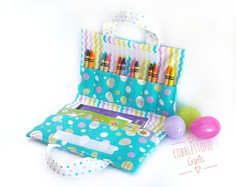 Crayon Notepad Holder Lg w/ Stickers - Blue Easter Eggs -Toddler Coloring, Kids Art Supplies, Crayon Holder, Crayon Notebook, Easter Basket