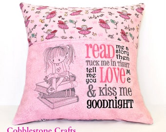 Sitting Girl Reading Pocket Pillowcase - Read me a story then Tuck me in - Pocket Pillow - Reading Pillow