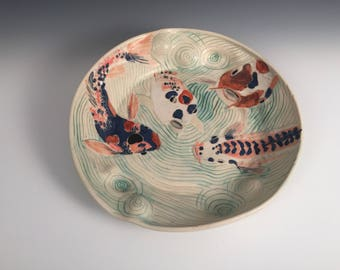 Rippled Koi Pond Bowl Platter with 4 Fish and a Scale-Covered Bottom