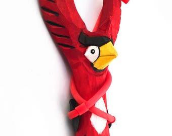 Wooden Slingshot, Hand Carved Owl Head Wooden Toy Slingshot
