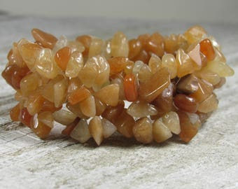 Chipped Orange Aventurine Stretch Bracelet
