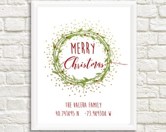 CUSTOM PERSONALIZED GPS Merry Christmas - Personalize with your family name & home location - 11x14 Christmas Holiday Home Decor Poster Sign