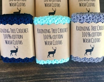 West Coast 100% Cotton Farmhouse Washcloths- Blue - Grey- Gray- Seafoam - Cleaning- Washing - Scrubbing- Country- Textured- Calm- Ocean