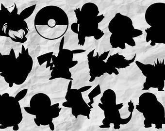 14 Pokemon Silhouettes | Pokemon SVG cut file | Cliparts | Cut files | vectors | printable | prints | vinyl design | wall print | digital