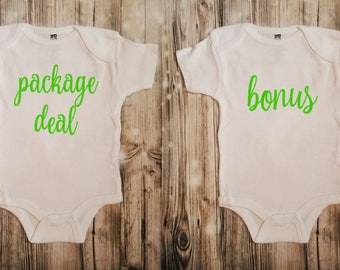Package Deal and Bonus 2 Piece Bodysuit Set for Twins - 2 Piece Twin Bodysuits - Twin Baby Shower Gifts - Twin Outfits
