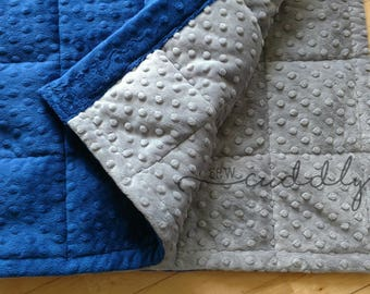 Royal Blue & Grey Minky Dot Weighted Blanket Custom Made to Order