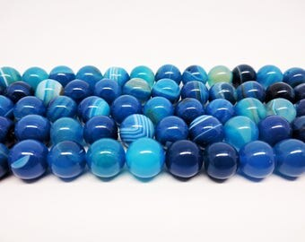 Agate Beads Blue Agate Beads Natural Agate Blue Beads Striped Agate Beads Round Beads Jewelry Beads Bracelet Beads Earring Beads for Jewelry