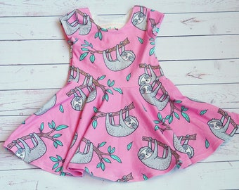 Sloth Dress. Pink Sloth Dress. Baby Dress. Comfy Dress. Toddler Dress. Little Girl Dress. Twirl Dress. Twirly Dress. Play Dress.