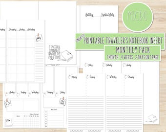 Micro Printable Travelers Notebook Insert - Printable Insert - Printable TN Insert - Printable Notebook - Monthly TN Insert - Hourly Planner