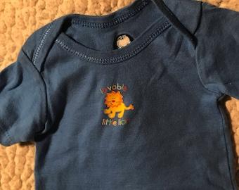 "Dark Blue With Lion ""Lovable Little Lion"" (size 1) Puppy Shirt"