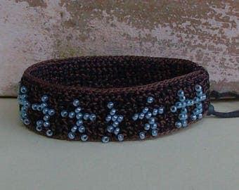 handmade stickman bracelet, crochet seed bead bracelet, cuff bracelet