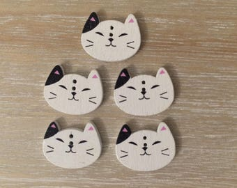 Meow, Meow, Meow, 5 wooden cat buttons for crafting, card making projects, two hole, sweet animal buttons