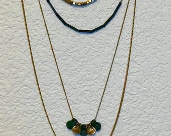 """Vintage Four Strand Gold & Forest Green Beaded Pendant Neckace, 26""""L Chain"""