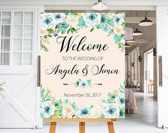 Wedding Welcome Sign Mint Green White Flowers Floral Boho Digital Wedding Reception Sign Bridal Wedding Welcome Poster WS-035
