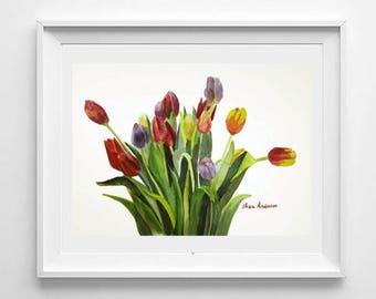 ORIGINAL  watercolor painting, 15 x 11 inches, Tulip watercolor, Flower watercolor. flower painting, Gift for woman, Original tulips