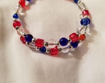 Red, Blue, & Clear White Wrap Bracelet, Glass beads, Nickel-free Memory Wire. BR11