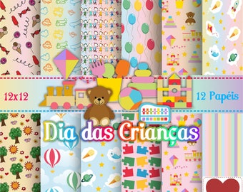 Dia das Crianças Kit Digital Children's Day Digital Paper
