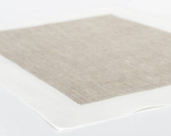100% LINEN Table Placemats (set of 4 pcs) - made in Northern Europe - White and White Color