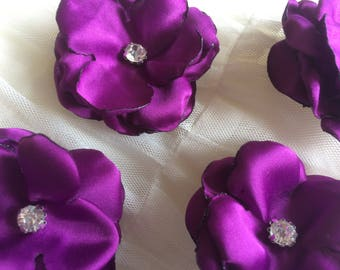 Purple Halloween Sew on flowers Embellishment satin crystals bling couture viola blossoms 3D decoration applique ornament for DIY weddings