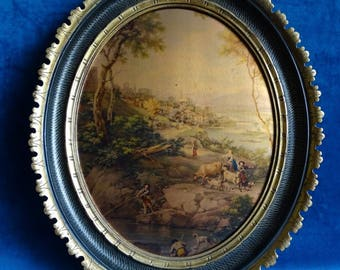Classic print with persons in landscape painting, in oval list