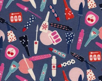 Cotton and Steel Jubilee, All Made Up in Blue, Melody Miller Fabric, Nail Polish Fabric, Lipstick Fabric, Makeup Fabric, Navy Blue Fabric