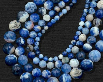 discount -10% Natural Blue Sodalite Beads, Blue Gemstone beads, Stone Beads, Spacer Beads, Round Natural Beads, Full Strand, 4mm 6mm 8mm 10m