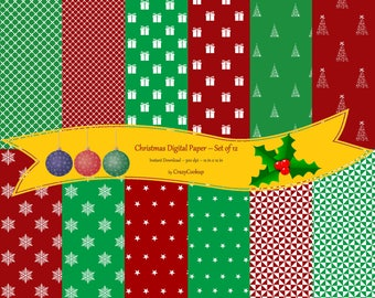 Christmas Digital Paper (Red, green and white) - Set of 12