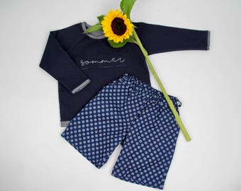 Bermuda pants cotton dark blue marine - girl pants boys trousers