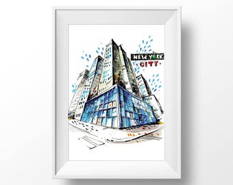 New York city skyscraper | Urban Sketching watercolor painting | Home wall fine art print