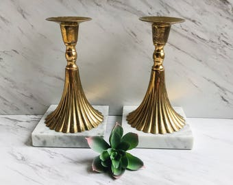 Vintage Italian Marble Brass Candlestick Holders. Hollywood Regency Decor. Midcentury Fluted Candlestick Holders. Made in Italy.