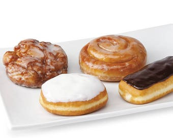 Delicious Sampler Glazed delights Chocolate Cinnamon Twists Jelly Filled Apple Fritter