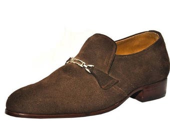 ON SUMMER SALE Weber Handmade Brown Suede Leather Shoes With Monk Strap.