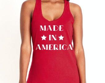 Patriotic Racerback Tanks - 4th of July Tank - Made In America, Merica AF, Patriotic AF
