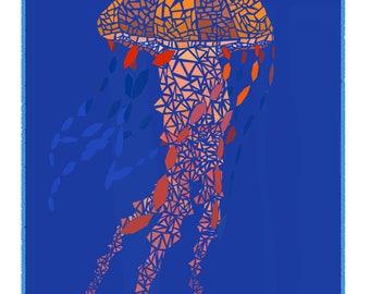 "9""x12"" Digital Art Print|| Polyfish Blue Background Print"