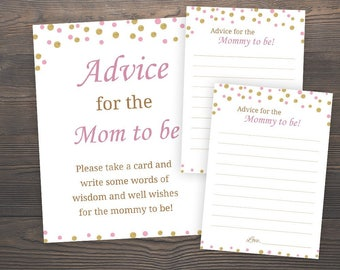 Advice for the mom to be, Baby Shower Games, Printable Baby Shower, Girl Baby Shower, Pink and Gold, Advice Cards for Mom, Baby Advice, GP5